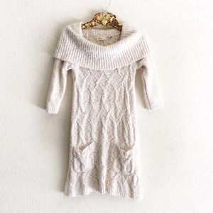 Anthropologie Cowl Neck Ivory Cream Sweater Dress